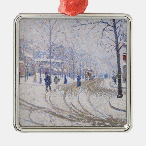 Nieve, Boulevard de Clichy, París, 1886 Adorno Navideño Cuadrado De Metal