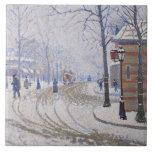 Nieve, Boulevard de Clichy, París, 1886 Azulejo Cuadrado Grande