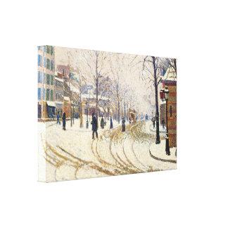 Nieve, Boulevard de Clichy, París de Paul Signac Lona Estirada Galerías