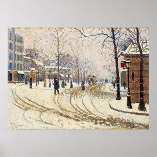 Nieve, Boulevard de Clichy, París de Paul Signac Póster