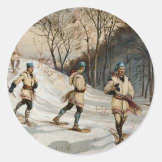 Nieve-calzar escena de Navidad del invierno Pegatina Redonda