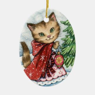 Nieve chispeante - ornamento lindo del gato del adorno ovalado de cerámica