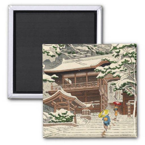Nieve de Asano Takeji en arte del hanga de la espi Imanes De Nevera