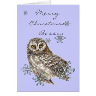 Nieve de Boss del navidad y pájaro lindo de la acu Tarjeta De Felicitación
