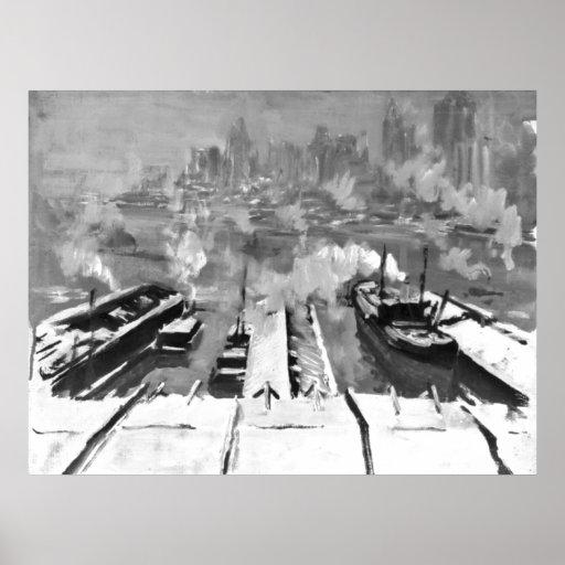 Nieve de Brooklyn Heights 1922 Posters