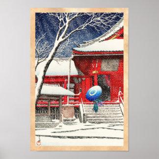 Nieve de Kawase Hasui en el arte del hanga de Ueno Poster