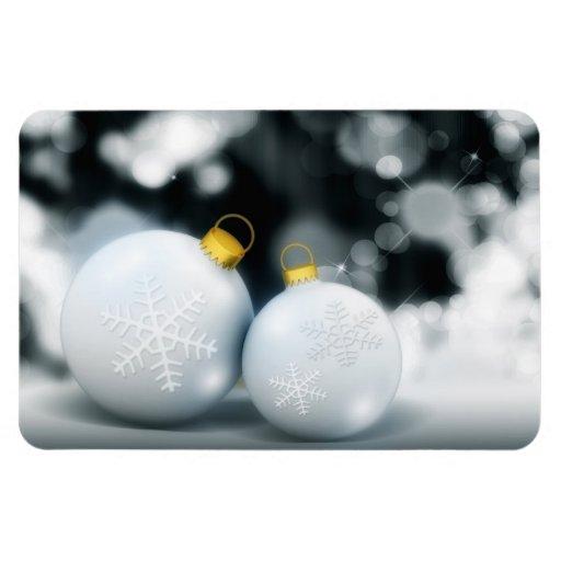 Nieve de la bola del advenimiento de los ornamento imán foto rectangular