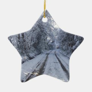 Nieve de la carretera nacional adorno navideño de cerámica en forma de estrella