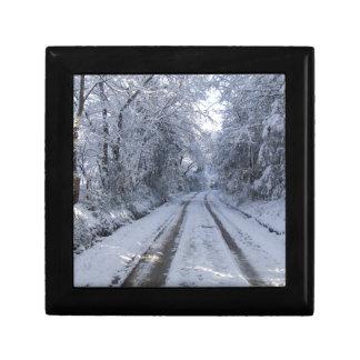 Nieve de la carretera nacional joyero cuadrado pequeño