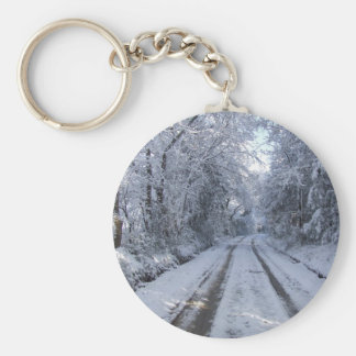 Nieve de la carretera nacional llavero redondo tipo pin