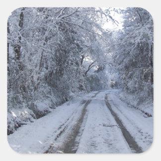 Nieve de la carretera nacional pegatina cuadrada