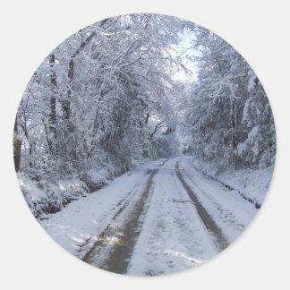 Nieve de la carretera nacional pegatina redonda