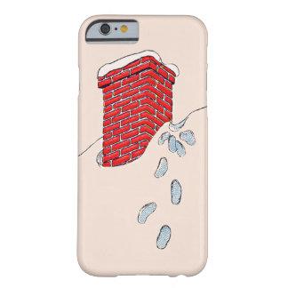 Nieve de la chimenea de las huellas de Papá Noel Funda Barely There iPhone 6
