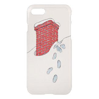 Nieve de la chimenea de las huellas de Papá Noel Funda Para iPhone 7