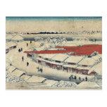 Nieve de la mañana en Yoshiwara por Ando, Hiroshig Postal