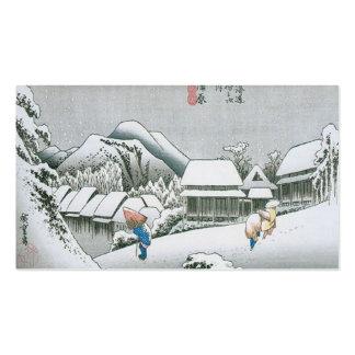 Nieve de la noche en Kambara, Japón circa 1831-183 Plantillas De Tarjetas Personales