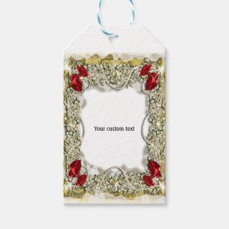 Nieve de la perla del arco de la guirnalda etiquetas para regalos
