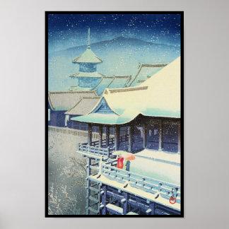 Nieve de la primavera en el hanga de Hasui Kawase  Poster