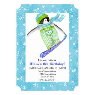 """Nieve de la snowboard de la fiesta de cumpleaños invitación 5"""" x 7"""""""