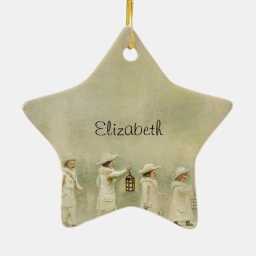 Nieve de las linternas de los niños del vintage adorno de cerámica en forma de estrella