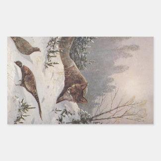 Nieve de los pájaros del faisán de la caza de Fox Rectangular Pegatina