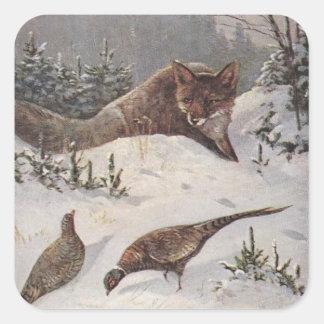 Nieve de los pájaros del faisán de la caza de Fox Calcomanías Cuadradas Personalizadas