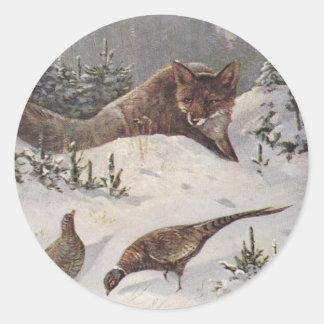 Nieve de los pájaros del faisán de la caza de Fox Etiqueta Redonda