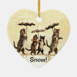 Nieve de los paraguas de los gatos del vintage adorno