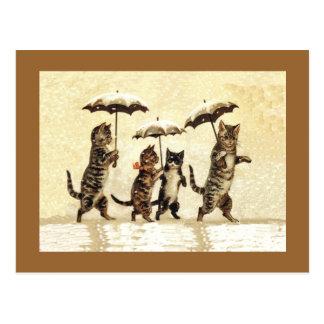 Nieve de los paraguas de los gatos del vintage tarjetas postales