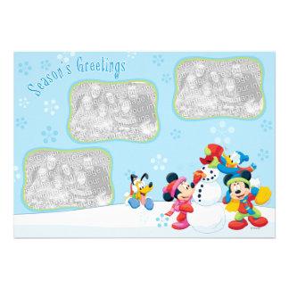 Nieve de Mickey y de los amigos Tarjeta de felici