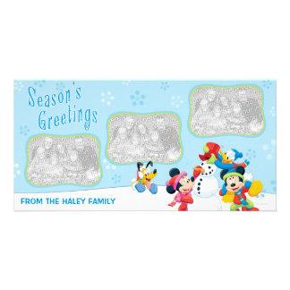 Nieve de Mickey y de los amigos: Tarjeta de la fot Tarjetas Fotográficas Personalizadas