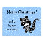 nieve de Navidad del mapache Postal