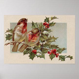 Nieve del acebo del pájaro cantante del pájaro del póster