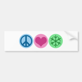 Nieve del amor de la paz etiqueta de parachoque