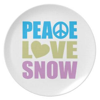 Nieve del amor de la paz platos de comidas