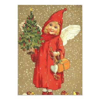"""Nieve del árbol de navidad de la querube del ángel invitación 5"""" x 7"""""""