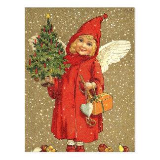 Nieve del árbol de navidad de la querube del ángel postal
