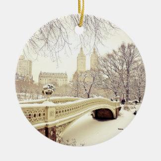 Nieve del Central Park - invierno Nueva York Ornamento De Reyes Magos