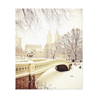Nieve del Central Park - invierno Nueva York Impresión En Tela