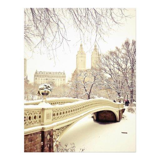 Nieve del Central Park - invierno Nueva York Membrete