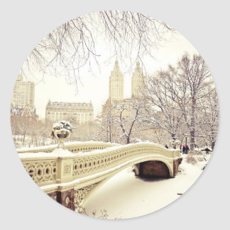 Nieve del Central Park - invierno Nueva York Pegatina Redonda