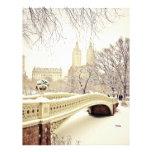 Nieve del Central Park - invierno Nueva York Plantillas De Membrete