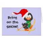 Nieve del esquí del pingüino del navidad felicitacion