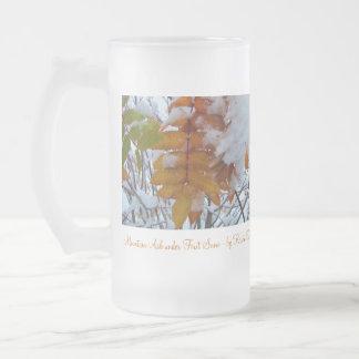 Nieve del invierno de las hojas de otoño de ALWS Jarra De Cerveza Esmerilada