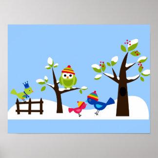 Nieve del invierno de los pájaros de los búhos del póster