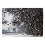 nieve del invierno del Lincoln memorial Felicitacion