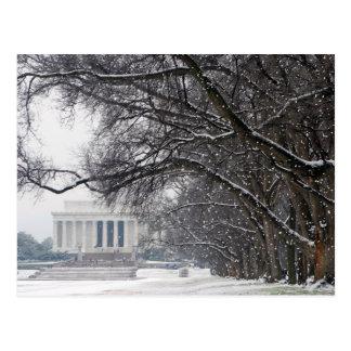 nieve del invierno del Lincoln memorial Postal