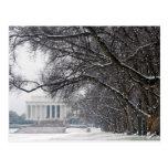 nieve del invierno del Lincoln memorial Tarjetas Postales