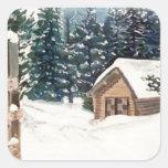 Nieve del invierno pegatina cuadrada