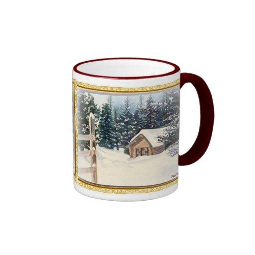 Nieve del invierno tazas de café